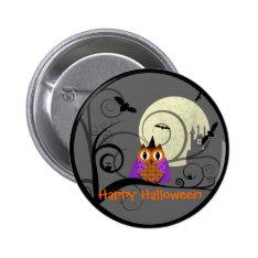 Halloween Owl Pinback Button at Zazzle