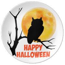 Halloween Owl Porcelain Plate