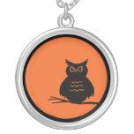 Halloween Owl Round Pendant Necklace