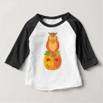 Halloween Owl Sitting on Pumpkin Illustration Baby T-Shirt