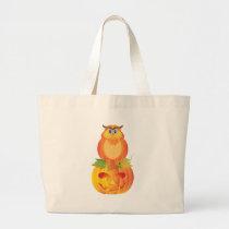 Halloween Owl Sitting on Pumpkin Illustration Large Tote Bag