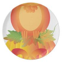 Halloween Owl Sitting on Pumpkin Illustration Plate