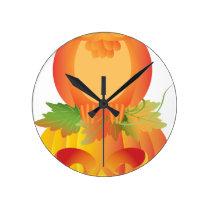 Halloween Owl Sitting on Pumpkin Illustration Round Clock