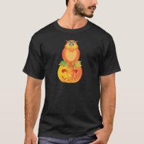 Halloween Owl Sitting on Pumpkin Illustration T-Shirt
