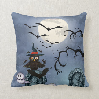 Halloween Owl White Ghosts Flying Bats Pillows