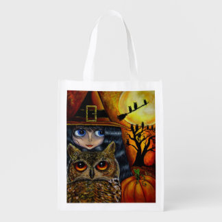 Halloween Owl Witch Cute Big Eye Girl Pumpkin Grocery Bag
