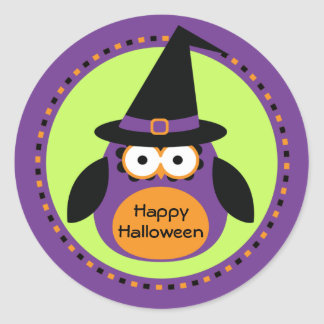 Halloween Owl Witch Party Favor Stickers