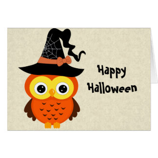 Halloween Owl with Witch Hat Card