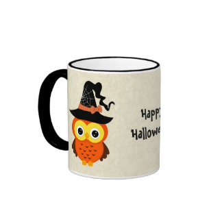 Halloween Owl with Witch Hat Ringer Mug