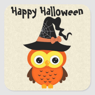 Halloween Owl with Witch Hat Square Sticker