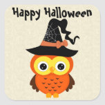 Halloween Owl with Witch Hat Stickers
