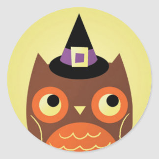 Halloween Owl with Witches Hat.jpg Classic Round Sticker