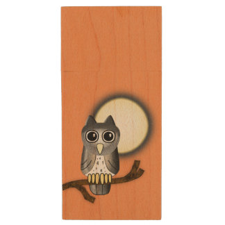 Halloween Owl Wood Flash Drive