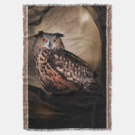 Halloween Owl Woven Throw Blanket