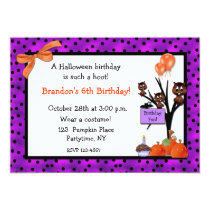 Halloween Owls Birthday Invitation