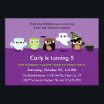 """Halloween Owls in Costume Birthday  Invitation<br><div class=""""desc"""">This cute and colorful invitation is ideal to celebrate a Halloween costume birthday party. It features Owl characters dressed up in different Halloween costumes. You can see a mommy, Frankenstein, Vampire, Ghost and Witch costume. The background has two tones of purple. The unisex invitation is not scary yet it's fun...</div>"""