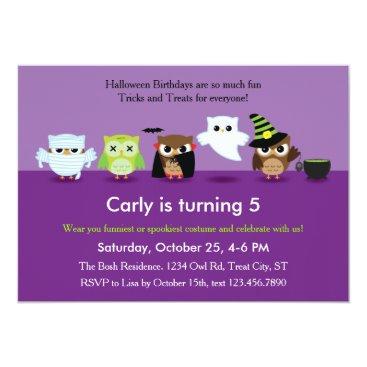 Halloween Themed Halloween Owls in Costume Birthday  Invitation