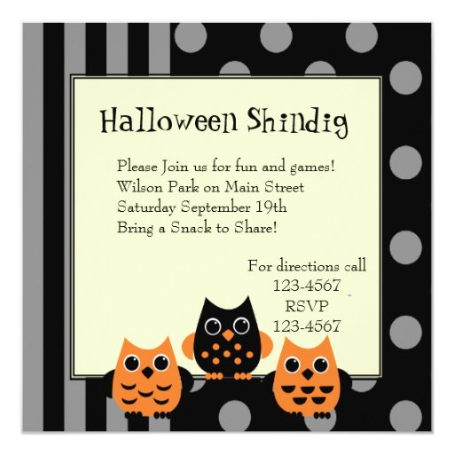 Halloween Owls 5.25x5.25 Square Paper Invitation Card