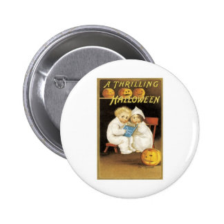Halloween Painting of Children Reading Ghost Story Pinback Button