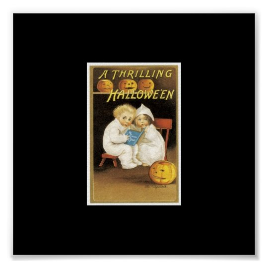 Halloween Painting of Children Reading Ghost Story Poster