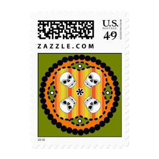 Halloween Paisley Skull Postage Stamp