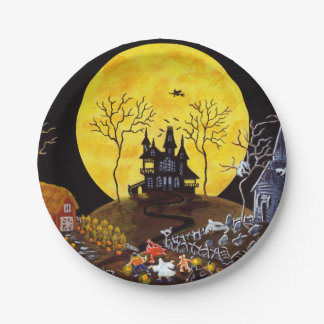 Halloween paper party plates,haunted village paper plate