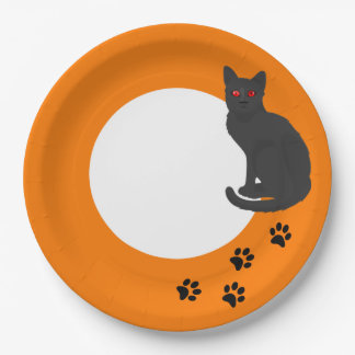 Halloween Paper Plate - Black Cat and Paw Prints