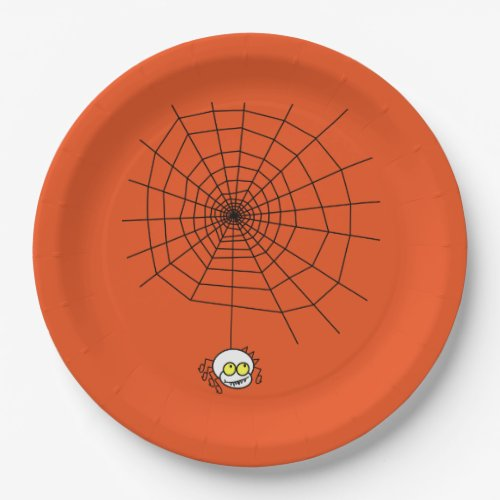 Halloween Paper Plates/Spider and Web on Orange Paper Plate