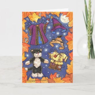 Halloween paperdoll card card