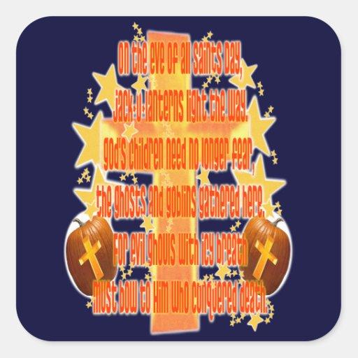Halloween para los cristianos (poema) pegatina cuadrada