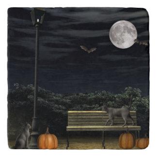 Halloween park stone trivet