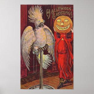 Halloween Parrot and Pumpkin Poster