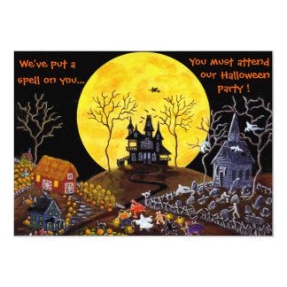 Halloween,part,invitations,haunted,house,witch Card
