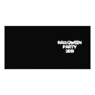Halloween Party 2011. Black and White. Custom Photo Greeting Card