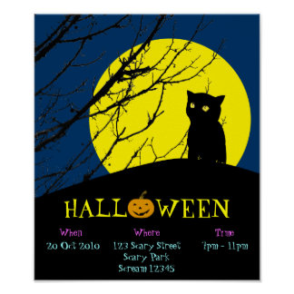Halloween Party Announcement Poster (Black Cat)