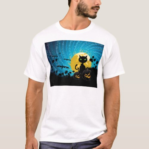 Halloween party background with cat T_Shirt
