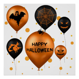 Halloween Party Balloons - Poster