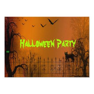 Halloween Party Bats and Black Cat Invitation