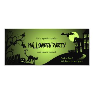 Halloween Party Black Cat Haunted House 4x9.25 Paper Invitation Card