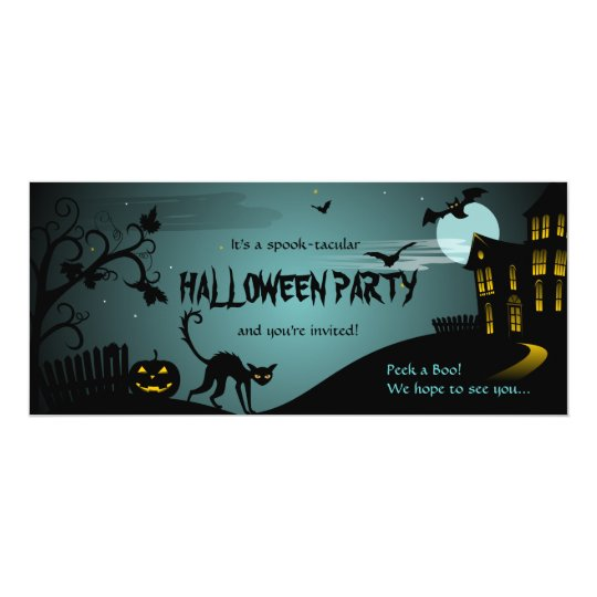 Halloween Party Black Cat Haunted House Blue Card