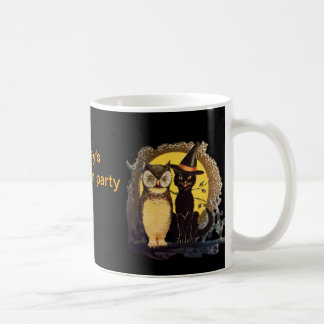 Halloween Party black cat in Witch hat Classic White Coffee Mug