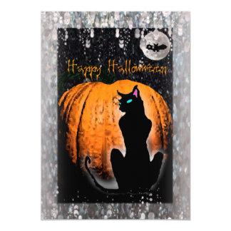 Halloween Party | Black Cat & Pumpkin Card