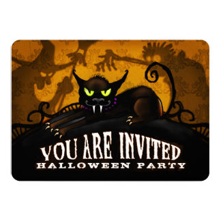Halloween Party Black Cat Spooky Silhouette Invite