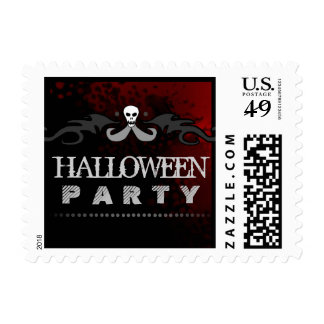 Halloween Party Black & Red Postage Stamp