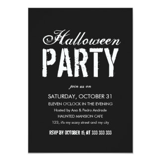 Halloween Party Black White Grunge Script Adult Card