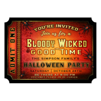 Halloween Party Bloody Wicked Ticket Invitation