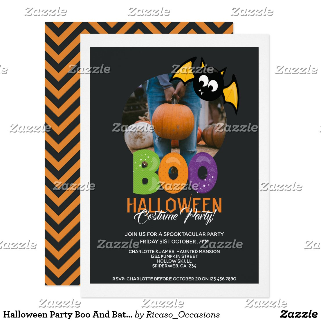 Halloween Party Boo And Bat Personalized Invitation