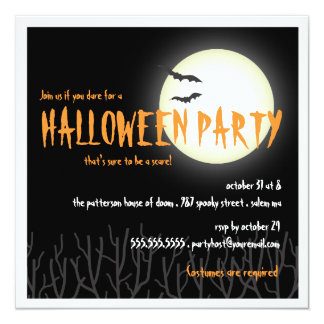 Halloween Party by the Full Moon with Bats Card
