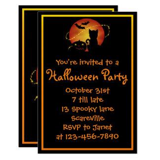 Halloween Party Cat Pumpkin and Bats Card