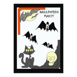 Halloween party Cats and bats Card